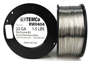 Temco Nichrome 80 Series Wire 22 Gauge 1 5 Lb 819ft Resistance Awg Ga