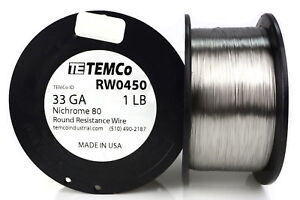 Temco Nichrome 80 Series Wire 33 Gauge 1 Lb 6936ft Resistance Awg Ga