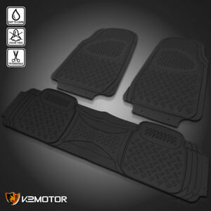 Black All Weather 3d Rubber Floor Mats Front Rear 3pc Seat Truck Suv