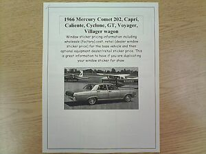1966 Mercury Comet Cost Dealer Retail Sticker Pricing For Car Options