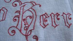 Antique Altar Cloth Turkey Red Work Embroidery German Words Blue Lilies Angels