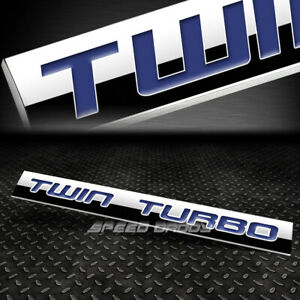 Metal Grill Trunk Emblem Decal Logo Trim Badge Polished Blue Text Twin Turbo
