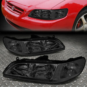 For 1998 2002 Honda Accord Pair Smoked Housing Clear Corner Headlight lamp Set