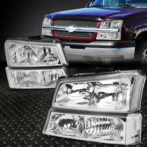 For 2003 2006 Chevy Silverado Chrome Housing Clear Side Headlight Lamp Set 4pcs