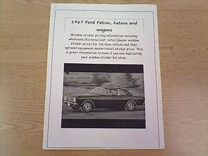 1967 Ford Falcon Factory Cost Dealer Sticker Prices For Car Options