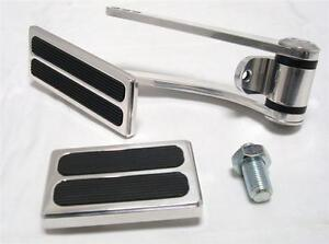 Polished Street Rat Rod Throttle Gas Pedal W Brake Dimmer Rubber Pad 3 Piece