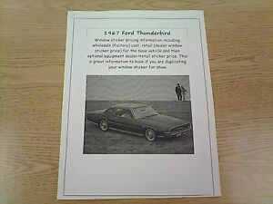 1967 Ford Thunderbird Factory Cost Dealer Sticker Prices For Car