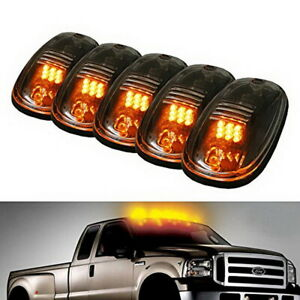 Clear Lens 5pc Amber Led Cab Roof Marker Running Lights For Truck Suv Rv Van 4x4