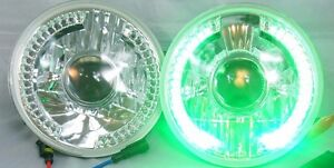 97 16 Jeep Wrangler 7 Led Halo Green Projector Round Chrome Clear Headlights