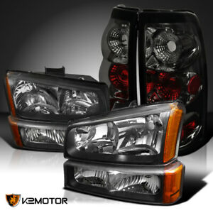 03 06 Silverado 1500 2500 Black Headlights Bumper Lamps Smoke Tail Brake Lights