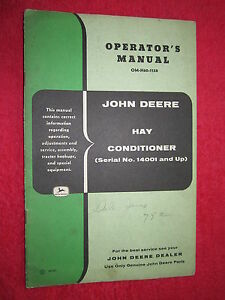 Vintage Original John Deere Hay Conditioner Ser No 14001 Up Operators Manual