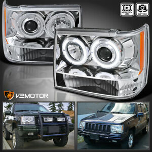 For 1993 1996 Jeep Grand Cherokee Led Halo Projector Headlights Lamps Left Right