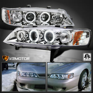 For 1994 1997 Honda Accord Led Halo Projector Headlights Lamps Pair Left Right