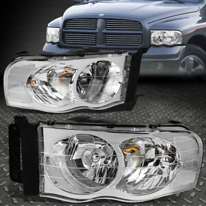 For 2002 2005 Dodge Ram Pickup Pair Chrome Housing Clear Corner Headlight lamp