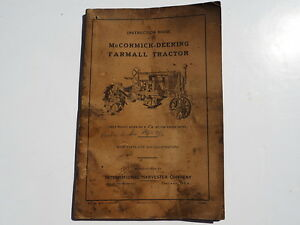 Vintage 1927 Instruction Book Mccormick deering Farmall Tractor Gas Kerosene