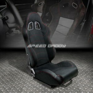 Fully Reclinable Suede Sports Racing Seat Mounting Slider Rail Passenger Side
