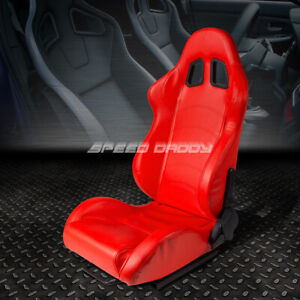 Full Reclinable Pvc Leather Sports Racing Seat mount Slider Red Driver Left Side
