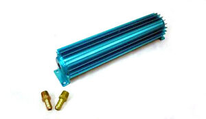 18 Finned Transmission Cooler Blue Anodized Trans Fins Into Inside Works Well