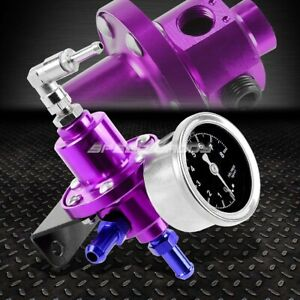 Aluminum 160 Psi Adjustable 1 1 Fuel Pressure Regulator kpa Oil Gauge Kit Purple