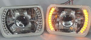 H6054 5 X7 Diamond Cut Headlights Replacement Glass H4 Amber Led Projector