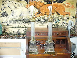 2 Lot Paul Hanson Vintage Hollywood Regency Glass Column Brass Lamps Shop Waz