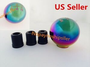 Jdm Neo Chrome Round Shift Knob Universal Fit Acura Civic Subaru Mazda Evo Sti