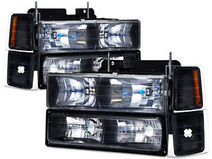 Headlights Set 8 Piece Black Fits 94 98 Chevrolet C K 10 Pickup Tahoe Silverado