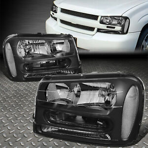 For 02 09 Chevy Trailblazer Ext Black Housing Clear Corner Headlight Head Lamps