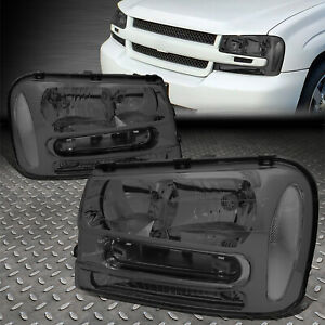 For 02 09 Chevy Trailblazer Ext Smoked Housing Clear Corner Headlight Head Lamps