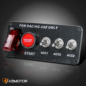 Racing Car 12v Ignition Switch Panel Engine Start Led Push Button Toggle Panel