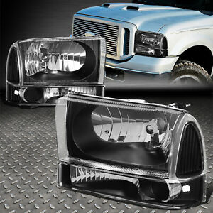 For 1999 2004 Ford Super Duty Pair Black Housing Clear Side Headlight lamp Set