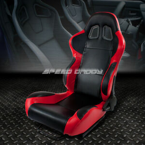 Woven Cloth Reclinable Red black carbon Look Racing Seat slider Driver Left Side