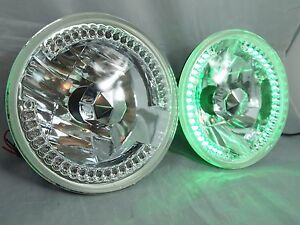 97 16 Jeep Wrangler Tj Jk 7 Led Halo Green Round Chrome Clear Headlights