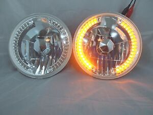 97 16 Jeep Wrangler Tj Cj Jk 7 Led Halo Amber Round Chrome Clear Headlights