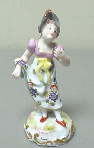 Antique Achille Block French Porcelain Figurine Young Lady In Period Clothing