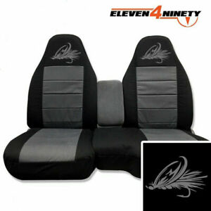 91 03 Ford Ranger 60 40 Black Charcoal Seat Covers Fish Hook Logo 9 Colors