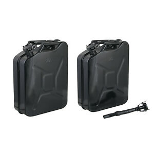 2 Jerry Cans 20 Liters 5 Gallons Backup Steel Tank Fuel Gas Gasoline Black