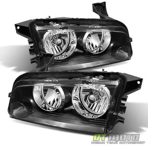 Black 2006 2010 Dodge Charger Replacement Headlights Headlamps Pair Left Right
