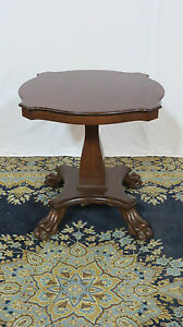 Mahogany Claw Foot Vintage Side Table