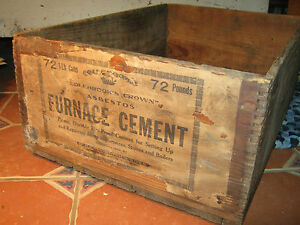 Rare Vintage Colebrook S Furnace Cement Shipping Crate Wooden Box Dovetailed