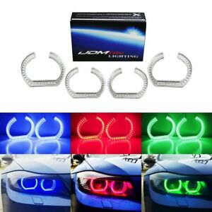 Dtm Style Horseshoe Rgb Led Angel Eye Rings W Acrylic Covers For Bmw Headlights