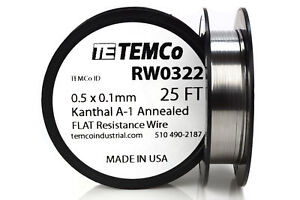 Temco Flat Ribbon Kanthal A1 Wire 0 5mm X 0 1mm 25 Ft Resistance A 1