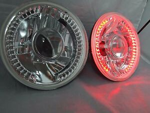 97 16 Jeep Wrangler Tj Jk 7 Led Halo Red Round Chrome Clear Headlights