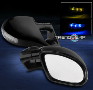 1995 1999 Mitsubishi Eclipse M3 Manual Side Mirror Blue Amber Led Light Clear
