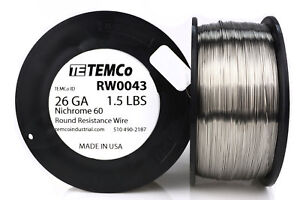 Temco Nichrome 60 Series Wire 26 Gauge 1 5 Lb 2120 Ft resistance Awg Ga