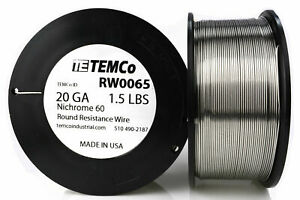 Temco Nichrome 60 Series Wire 20 Gauge 1 5 Lb 521 Ft resistance Awg Ga