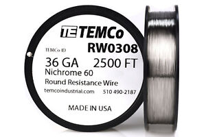 Temco Nichrome 60 Series Wire 36 Gauge 2500 Ft Resistance Awg Ga