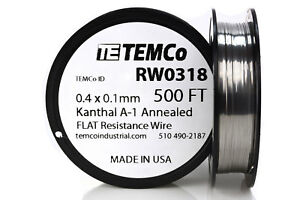 Temco Flat Ribbon Kanthal A1 Wire 0 4mm X 0 1mm 500 Ft Resistance A 1