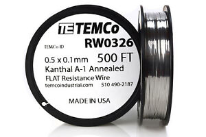 Temco Flat Ribbon Kanthal A1 Wire 0 5mm X 0 1mm 500 Ft Resistance A 1