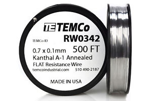 Temco Flat Ribbon Kanthal A1 Wire 0 7mm X 0 1mm 500 Ft Resistance A 1